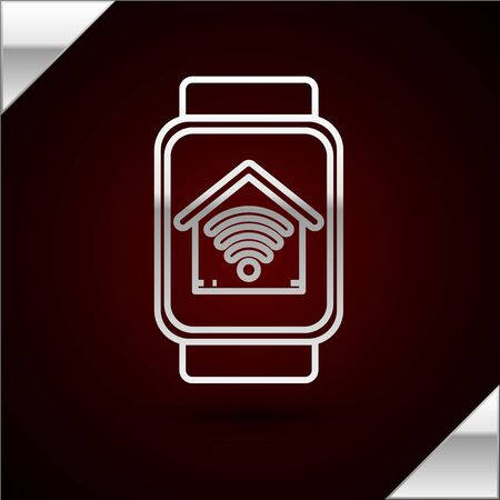 Silver line Smart watch with smart home with wifi icon isolated on dark red background. Remote control. Vector Illustration 일러스트