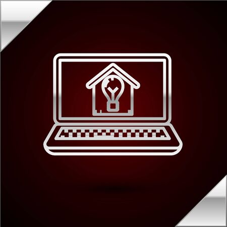 Silver line Laptop with smart house and light bulb icon isolated on dark red background. Vector Illustration 일러스트