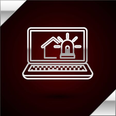 Silver line Laptop with smart house and alarm icon isolated on dark red background. Security system of smart home. Vector Illustration