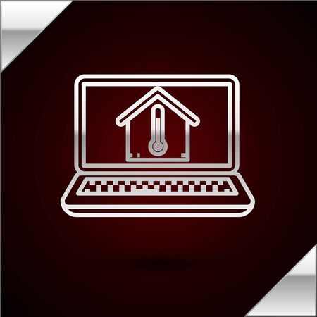 Silver line Laptop with house temperature icon isolated on dark red background. Thermometer icon. Vector Illustration Stock Illustratie