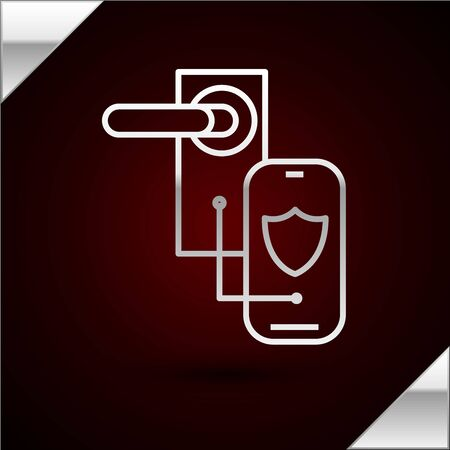 Silver line Digital door lock with wireless technology for lock icon isolated on dark red background. Door handle sign. Security smart home. Vector Illustration