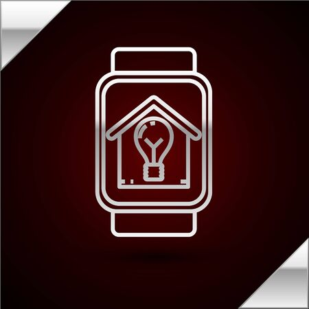 Silver line Smart watch with smart house and light bulb icon isolated on dark red background. Vector Illustration
