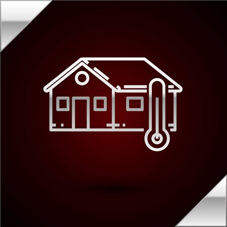Silver line House temperature icon isolated on dark red background. Thermometer icon. Vector Illustration Stock Illustratie