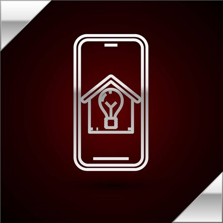 Silver line Mobile phone with smart house and light bulb icon isolated on dark red background. Vector Illustration 일러스트