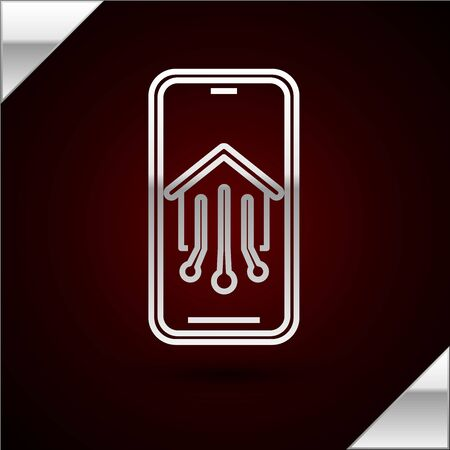 Silver line Mobile phone with smart home icon isolated on dark red background. Remote control. Vector Illustration