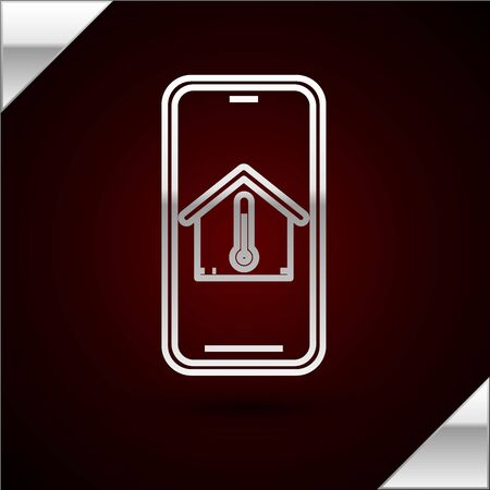 Silver line Mobile phone with house temperature icon isolated on dark red background. Thermometer icon. Vector Illustration