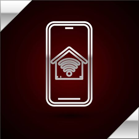 Silver line Mobile phone with smart home with wifi icon isolated on dark red background. Remote control. Vector Illustration