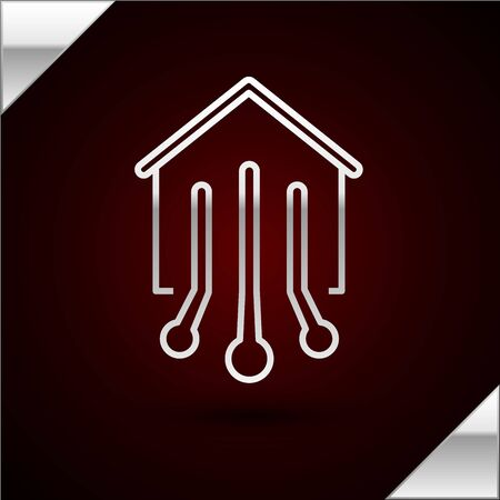 Silver line Smart home icon isolated on dark red background. Remote control. Vector Illustration 일러스트