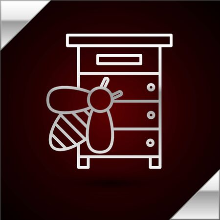 Silver line Hive for bees icon isolated on dark red background. Beehive symbol. Apiary and beekeeping. Sweet natural food. Vector Illustration