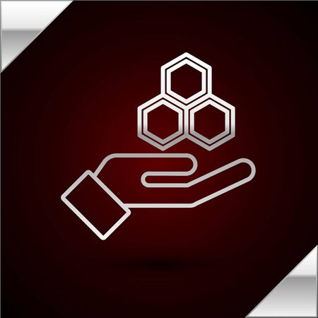Silver line Honeycomb and hand icon isolated on dark red background. Honey cells symbol. Sweet natural food. Vector Illustration