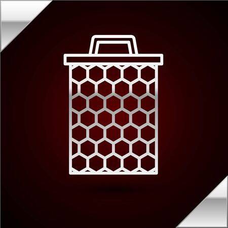 Silver line Honeycomb icon isolated on dark red background. Honey cells symbol. Sweet natural food. Vector Illustration Ilustrace