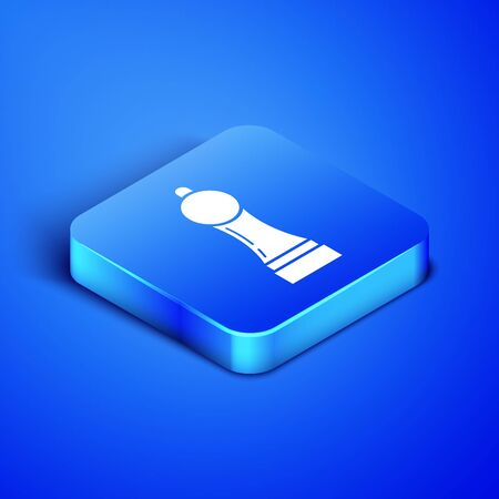 Isometric Pepper icon isolated on blue background. Cooking spices. Blue square button. Vector Illustration 일러스트