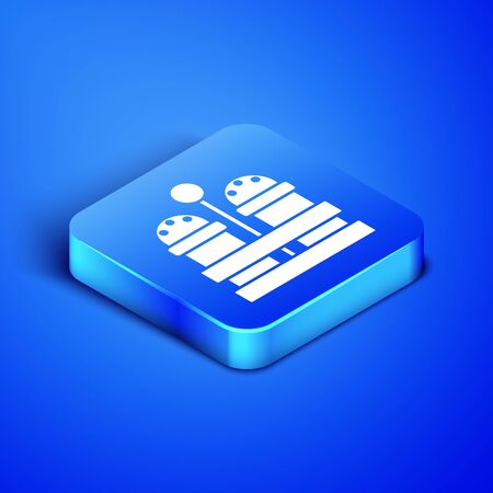 Isometric Salt and pepper icon isolated on blue background. Cooking spices. Blue square button. Vector Illustration