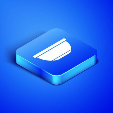 Isometric Bowl icon isolated on blue background. Blue square button. Vector Illustration 일러스트