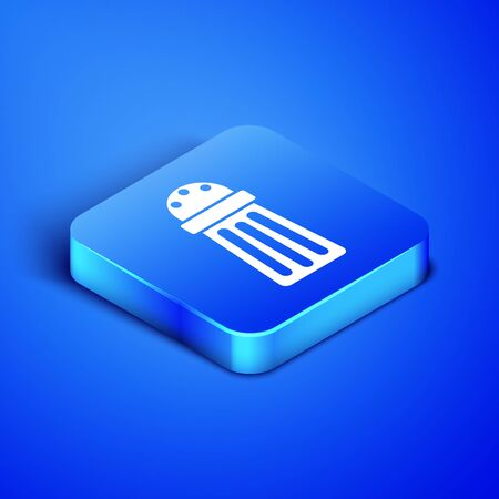 Isometric Salt icon isolated on blue background. Cooking spices. Blue square button. Vector Illustration 일러스트