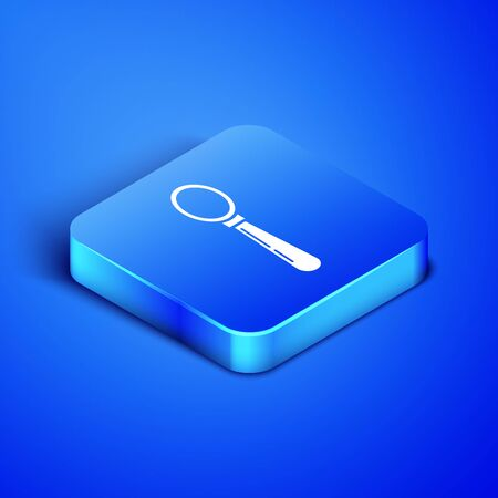 Isometric Spoon icon isolated on blue background. Cooking utensil. Cutlery sign. Blue square button. Vector Illustration