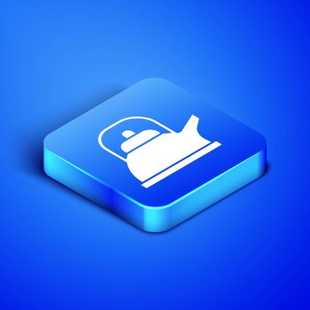 Isometric Kettle with handle icon isolated on blue background. Teapot icon. Blue square button. Vector Illustration