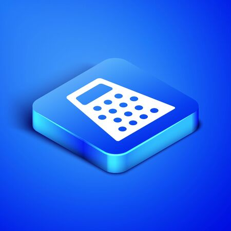 Isometric Grater icon isolated on blue background. Kitchen symbol. Cooking utensil. Cutlery sign. Blue square button. Vector Illustration 일러스트