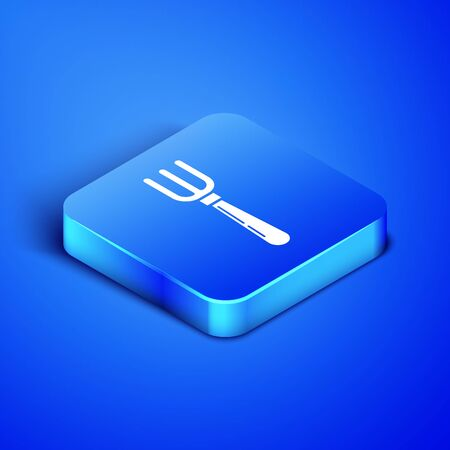 Isometric Fork icon isolated on blue background. Cutlery symbol. Blue square button. Vector Illustration
