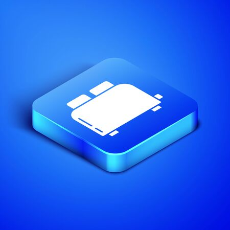 Isometric Toaster with toasts icon isolated on blue background. Blue square button. Vector Illustration 일러스트