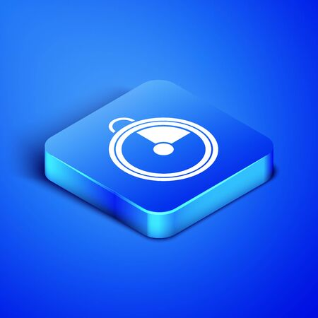 Isometric Kitchen timer icon isolated on blue background. Cooking utensil. Blue square button. Vector Illustration 일러스트