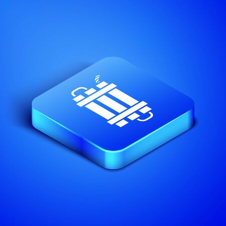 Isometric Detonate dynamite bomb stick and timer clock icon isolated on blue background. Time bomb - explosion danger concept. Blue square button. Vector Illustration Ilustrace