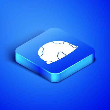 Isometric Military helmet icon isolated on blue background. Army hat symbol of defense and protect. Protective hat. Blue square button. Vector Illustration Illustration