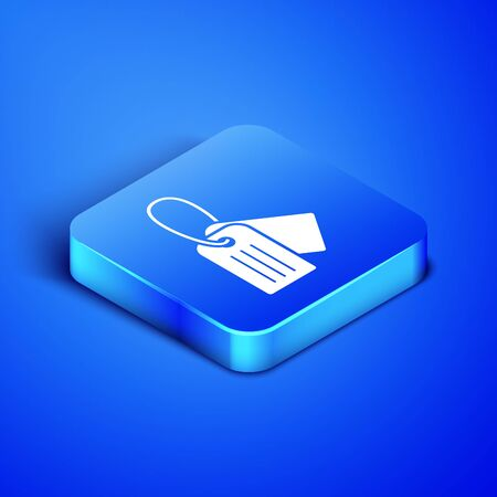 Isometric Military dog tag icon isolated on blue background. Identity tag icon. Army sign. Blue square button. Vector Illustration Ilustracja