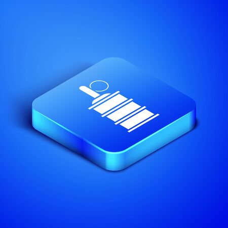 Isometric Hand grenade icon isolated on blue background. Bomb explosion. Blue square button. Vector Illustration