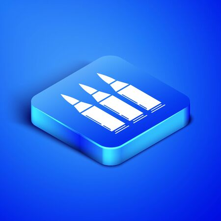 Isometric Bullet icon isolated on blue background. Blue square button. Vector Illustration