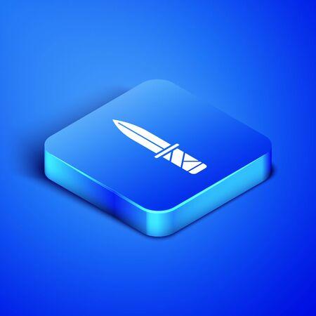 Isometric Military knife icon isolated on blue background. Blue square button. Vector Illustration Illusztráció