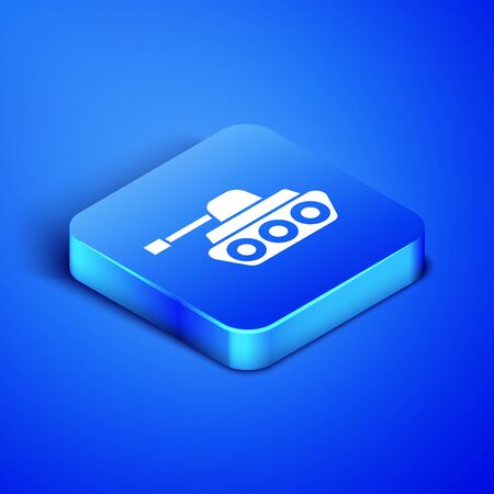 Isometric Military tank icon isolated on blue background. Blue square button. Vector Illustration Illustration