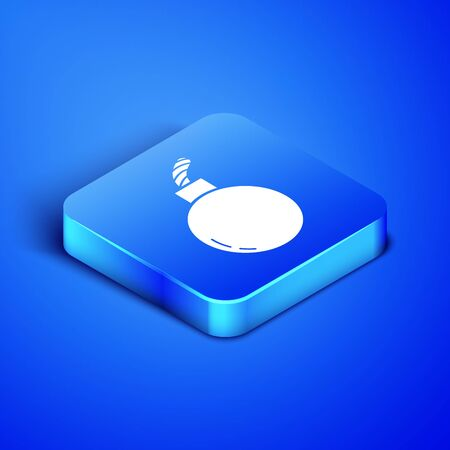 Isometric Bomb ready to explode icon isolated on blue background. Blue square button. Vector Illustration Ilustração