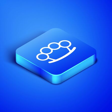 Isometric Brass knuckles icon isolated on blue background. Blue square button. Vector Illustration Illusztráció