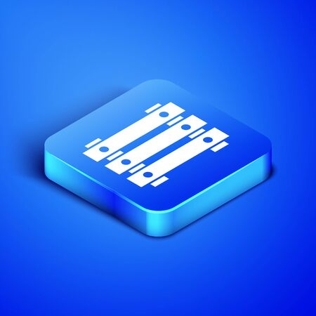 Isometric Military ammunition box with some ammo bullets icon isolated on blue background. Blue square button. Vector Illustration
