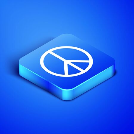 Isometric Peace icon isolated on blue background. Hippie symbol of peace. Blue square button. Vector Illustration