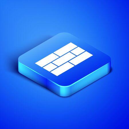 Isometric Bricks icon isolated on blue background. Blue square button. Vector Illustration Illustration