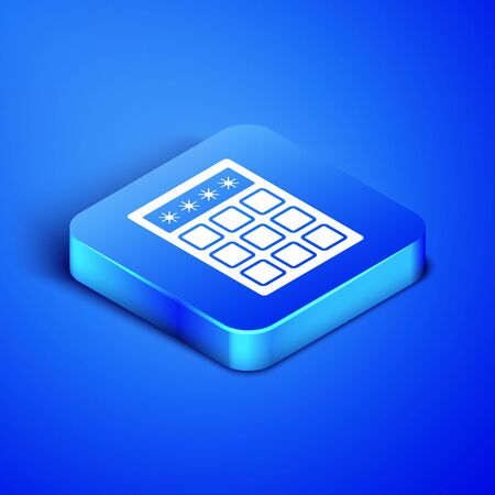 Isometric Password protection and safety access icon isolated on blue background. Security, safety, protection, privacy concept. Blue square button. Vector Illustration