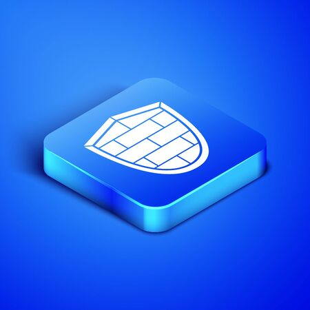 Isometric Shield with cyber security brick wall icon isolated on blue background. Data protection symbol.