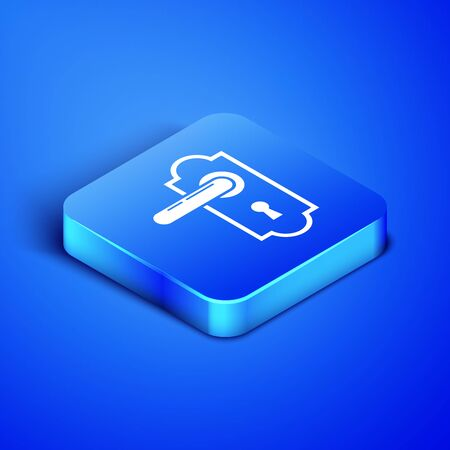 Isometric Door handle icon isolated on blue background. Door lock sign. Blue square button. Vector Illustration