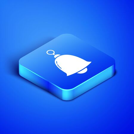 Isometric Ringing bell icon isolated on blue background. Alarm symbol, service bell, handbell sign, notification symbol. Blue square button. Vector Illustration