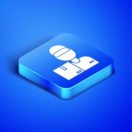 Isometric Delivery man with cardboard boxes icon isolated on blue background. Door to door delivery by courier. Blue square button. Vector Illustration