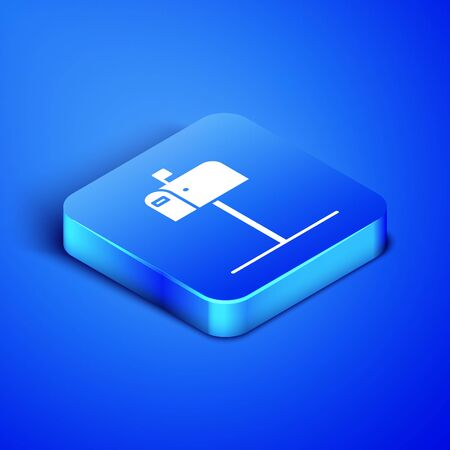 Isometric Open mail box icon isolated on blue background. Mailbox icon. Mail postbox on pole with flag. Blue square button. Vector Illustration Illusztráció