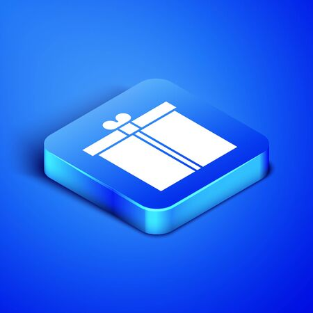 Isometric Gift box icon isolated on blue background. Blue square button. Vector Illustration