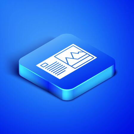 Isometric Postcard icon isolated on blue background. Blue square button. Vector Illustration