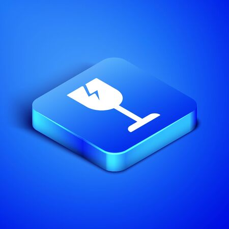Isometric Fragile broken glass symbol for delivery boxes icon isolated on blue background. Blue square button. Vector Illustration Standard-Bild - 133407819