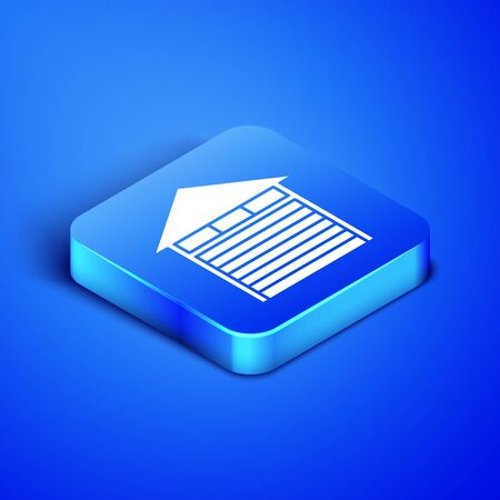 Isometric Closed warehouse icon isolated on blue background. Blue square button. Vector Illustration Stock Vector - 133407827