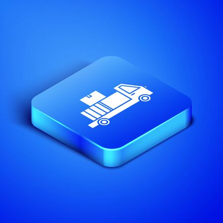 Isometric Delivery truck with cardboard boxes behind icon isolated on blue background. Blue square button. Vector Illustration