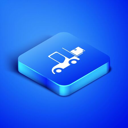 Isometric Forklift truck icon isolated on blue background. Fork loader and cardboard box. Cargo delivery, shipping, transportation. Blue square button. Vector Illustration Stock Vector - 133407916