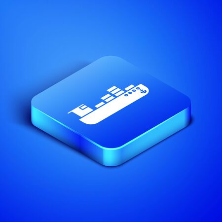 Isometric Cargo ship with boxes delivery service icon isolated on blue background. Delivery, transportation. Freighter with parcels, boxes, goods. Blue square button. Vector Illustration Banque d'images - 133407917